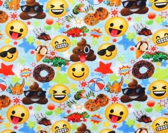 Euro Oeko-Tex Emoji on Blue Fabric 1 yard