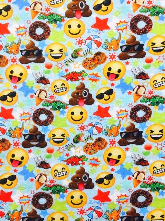 Euro oeko tex emoji on blue fabric 1 yard from for Emoji material by the yard