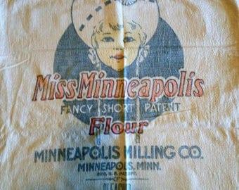 Vintage Miss Minneapolis Milling Co. Flour Sack, Bag, Linen Cloth Advertising Bag, Farmhouse Decor