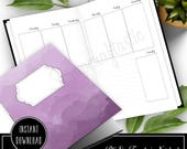 Week 33 - Week On Two Pages (WO2P) B6 Size Traveler's Notebook Printable Planner Inserts