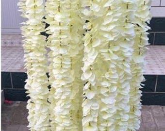 "5pcs 78"" Ivory Silk Wisteria Hanging Vine/Garland Flower no leaves,  Wisteria Vine Wedding Backdrop"