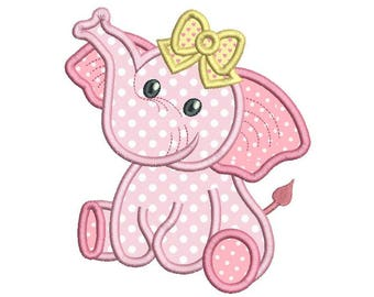Baby Girl Elephant Machine Embroidery Applique Design, Cute Elephant with Bow, Jungle Animal Design, 3 Sizes, Instant Download, No: SA545-12