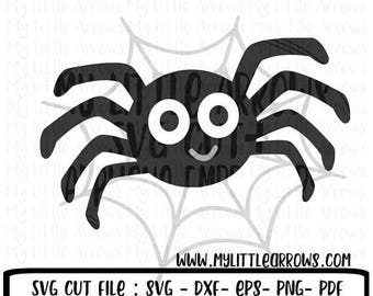 SALE- Spider with web SVG, DXF, Eps, png Files for Cutting Machines Cameo or Cricut - halloween svg - boy halloween svg - spider svg - hallo