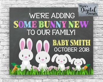 PRINTABLE We're Adding Some Bunny New To Our Family! Chalkboard Easter Pregnancy Announcement / Baby / Photo Prop Card Sign Poster JPEG file