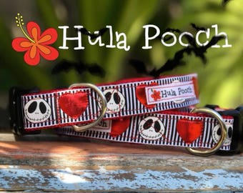 "Halloween Dog Collar ""Skulls & Hearts"" Small, Medium, Large Adjustable //FREE SHIPPING"