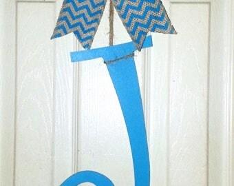 Monogram door hanger, letter door hanger, painted initial letter, wood letter door hanger, monogram letters