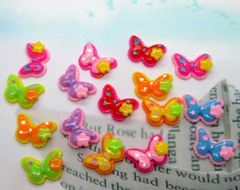 6 x Butterfly color mix 15x20mm cabochons