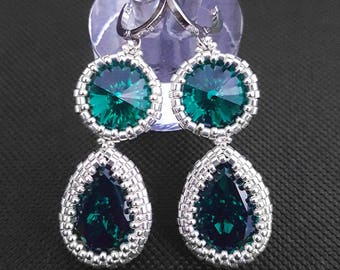 Swarovski earrings with sterling silver plated beads
