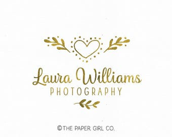 heart logo laurel logo premade logo photography logo pre made logo boutique logo wedding logo event planner logo gold foil logo floral logo
