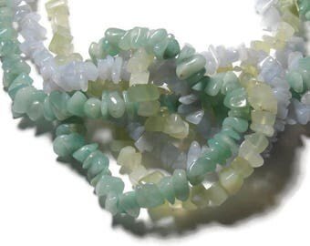 assortment of beads 3 colors green and blue, 10cm of each