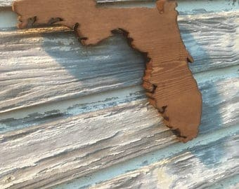 Wood Florida Cutout Sign -  FL State Wooden Cutout Wall Art Hanging Sign State Sign
