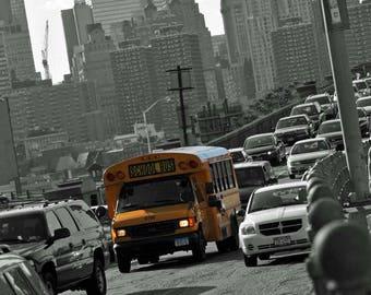 Yellow New York school bus print/New York prints/Colour pop prints/ Yellow school bus photography/New York school bus photo/New York photo