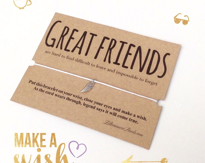 Great Friends Wish Bracelet   Birthday Gift   Charm Bracelet & Card. Can be personalised. Friends bracelet