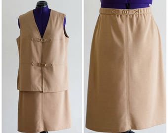 1970s double knit tan skirt and vest set