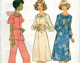 1970s Simplicity Sewing Pattern 7148 Softly Gathered Dress Top Wide-leg Pants Half Size 16 1/2