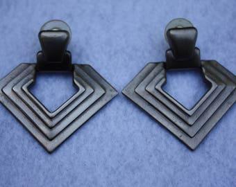 Triangle Shaped Earrings,  Silver tone Earrings, Post