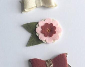 Felt Flower/Bow Set of 3/Headbands/Clips/Mauve/Pink/Ivory