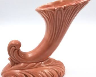 Art Deco Mid Century Pink Ceramic Horn of Plenty Trumpet Vase
