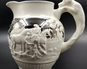 Wedgwood White and Silver Hunting Scene Pitcher / Horse and Hound