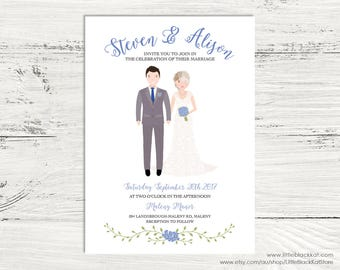 Custom illustrated Wedding invitation | Digital Portrait Wedding Invite