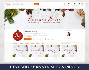 Holiday graphics - Christmas shop banner set - Premade banner set - Christmas cover - Shop graphics - Wood banner - Branding package vintage