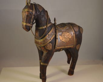 Vintage wood,brass antique horse figurine, horse statue, DAMAGED