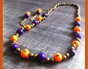 bronze necklace and earrings set, Orange and plum beads