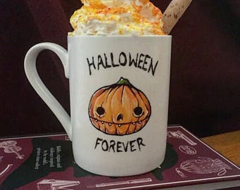 Halloween Forever Hand Painted Pumpkin Mug