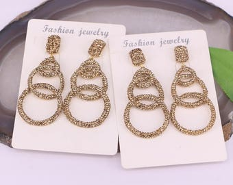 New 3Pcs Gold Color Crystal Rhinestone Paved Circle Gemstone Dangle Earings For Women Jewelry