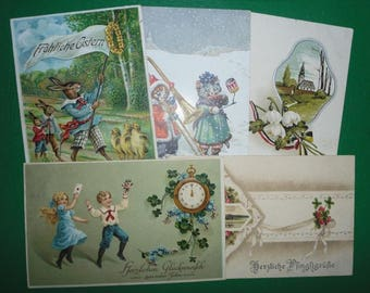 5 x AK-Seasonal Greetings-UM 1915-1 x Post card 1917-Germany-letter cover-postcard-stamps