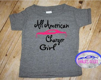 All American Charger Girl Toddler T Shirt (clothing) Perfect for the Dodge Charger car lover & their little girl!