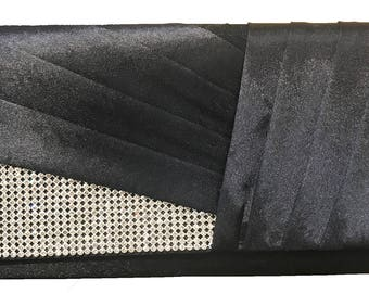 New Black Pleated Satin Body with Rhinestone Flap-Clutch Hand Bag