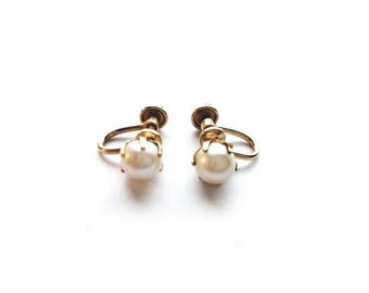 Vintage 1/20 12K GF with Pearls Screw Back Earrings