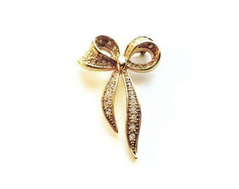 Vintage Napier Gold Bow with Crystal Rhinestones Pin Brooch