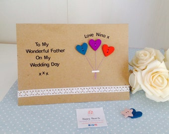 Personalised Handmade To My Wonderful Father On My Wedding Day Card - Father Of The Bride Wedding Thank You Card - Dad Card From Bride