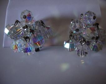 Vintage Clear Crystal Cluster Earrings (clip-ons)