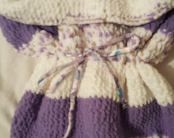 Warm, soft, crocheted baby cocoon or bunting bag - Reduced