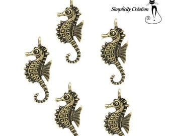 Set of 3 charms 'seahorse' metal bronze 29 mm