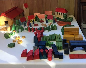 Vintage Wooden Miniature Block Toy/Village Set HH marked