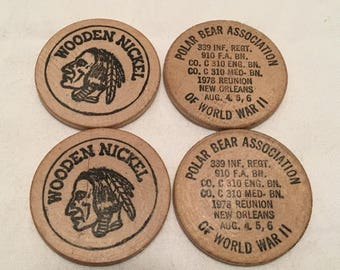 Polar Bear Association Of World War II Wooden Nickel Lot