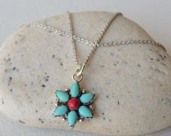 Sterling Silver Genuine Turquoise Pendant Sterling Chain Necklace, Vintage Turquoise and Coral, Flower, Blue Turquoise Jewelry, Star Pendant