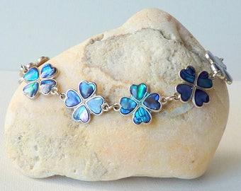 Vintage Abalone Shell Silver Clover Bracelet, Abalone  Inlay Bracelet Retro Abalone Clover Lucky Bracelet, Blue Green Paua Shell Bracelet