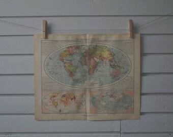 1928 Vintage World Map