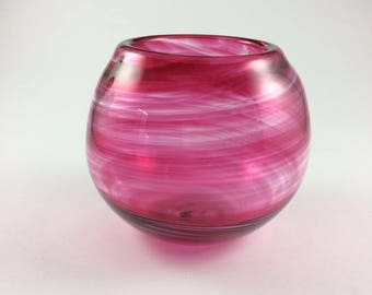 Hand Blown Pink Swirl Glass Bowl