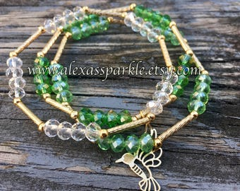 Set of three crystal bead bracelets-green-light green-clear cristal colors