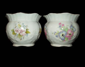 Vintage Retro Maryleigh Staffordshire Pottery pink Floral Planters