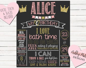Pink and Gold First Birthday Chalkboard - Sparkle - Glitter - 1st Birthday Chalkboard - Princess - Crown - Sparkly - Printable