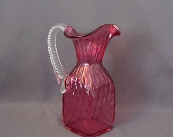 Cranberry Art Glass Pitcher Hand Blown Diamond Pattern Applied Clear Handle