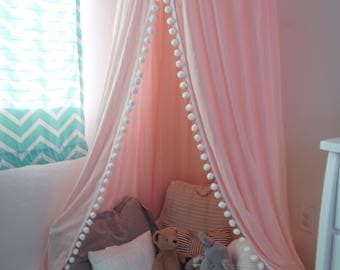 Pompom Play canopy in blush pink cotton / hanging tent/bed canopy/ hanging canopy & Play Canopy Blush Pink Hanging Princess Tent Made to