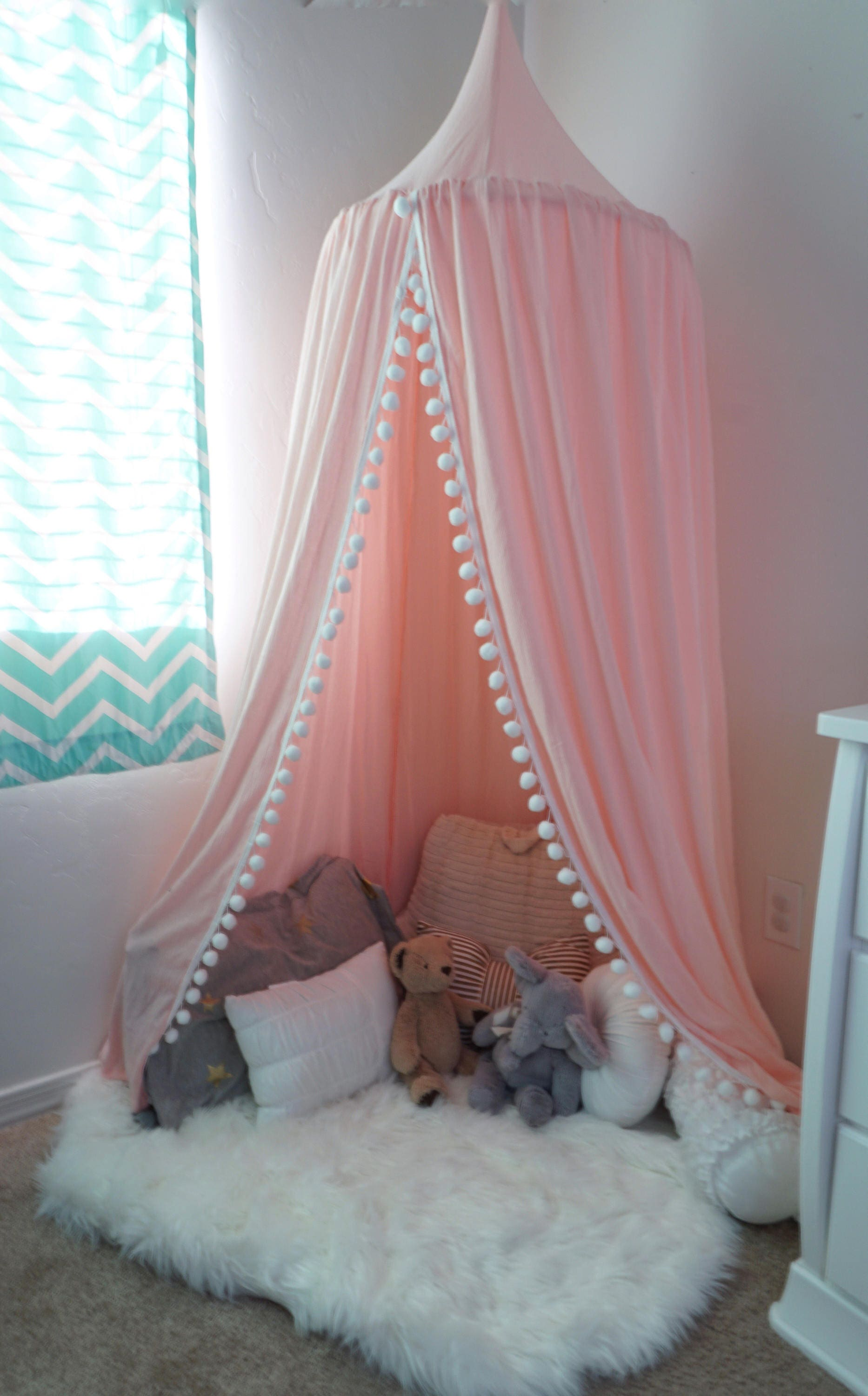 Pompom Play canopy in blush pink cotton / hanging tent/bed canopy/ hanging canopy & Pompom Play canopy in blush pink cotton / hanging tent/bed canopy ...